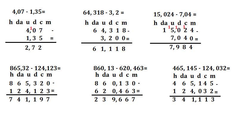 sottrazioni con i numeri decimali