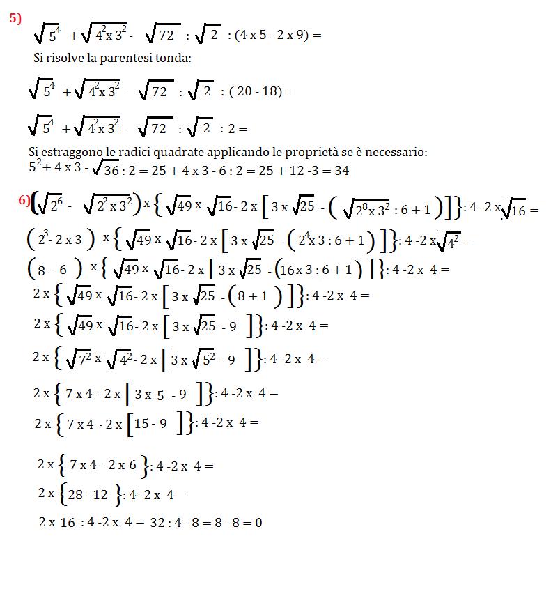 Espressioni con la radice quadra - Tavole numeriche radici quadrate da 1 a 10000 ...