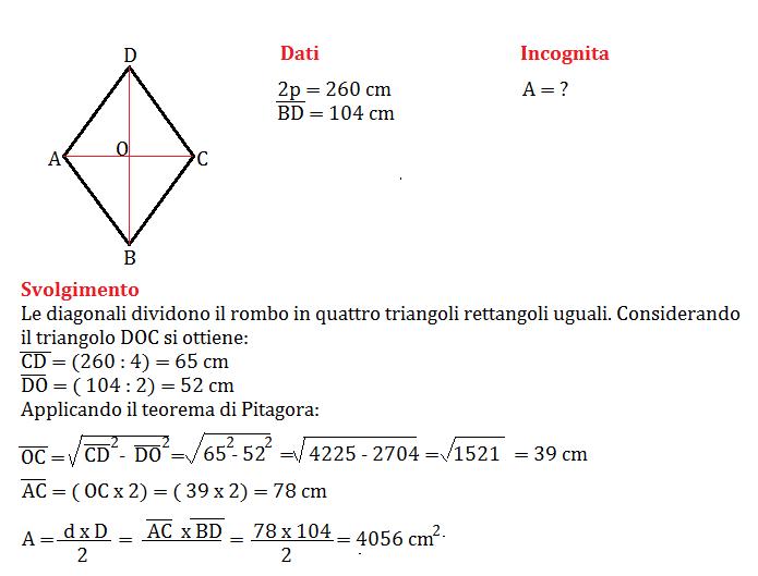 Problemi Sul Rombo Con Pitagora Geometria Seconda Media