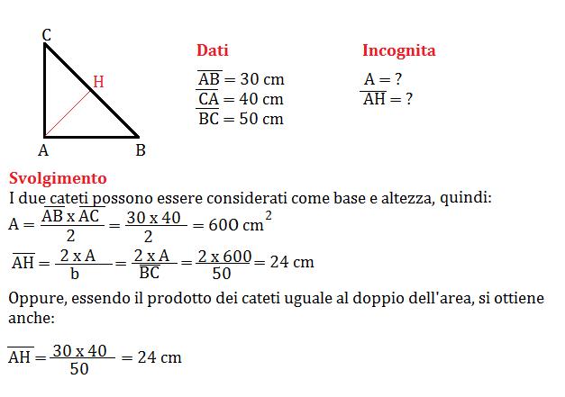 Problemi sull'area del triangolo, geometria seconda media
