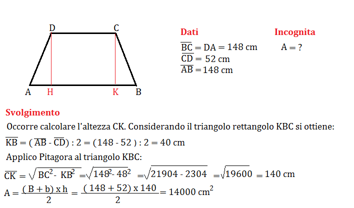 trapezio isoscele e pitagora 1
