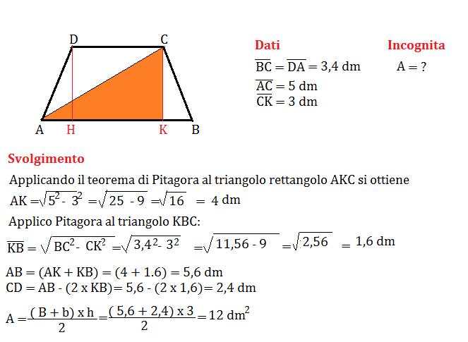 trapezio isoscele e pitagora 2