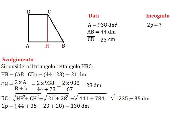 trapezio rettangolo con pitagora 1