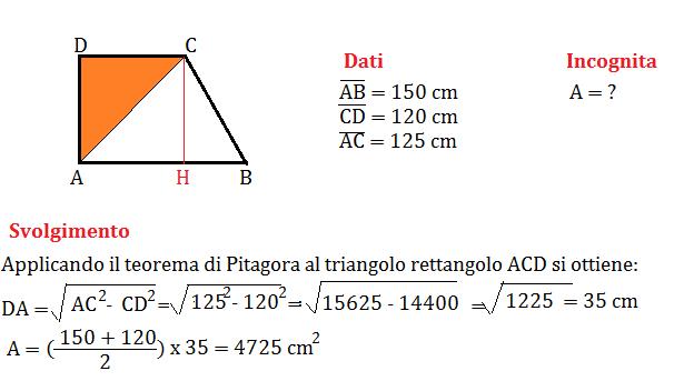 trapezio rettangolo con pitagora 2