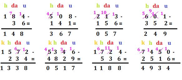 sottrazioni in colonna con cambio 1