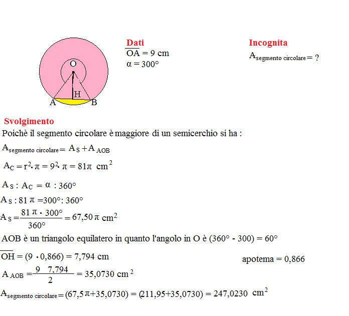 area del segmento circolare 1