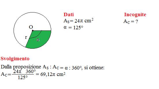 area settore circolare 1