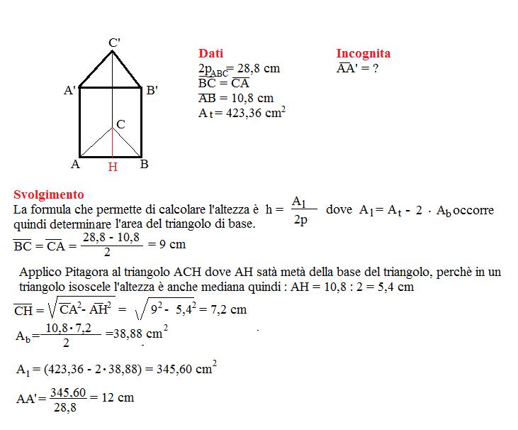 Problema sulla superficie dei prismi 1