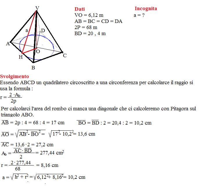 problema sulla piramide retta