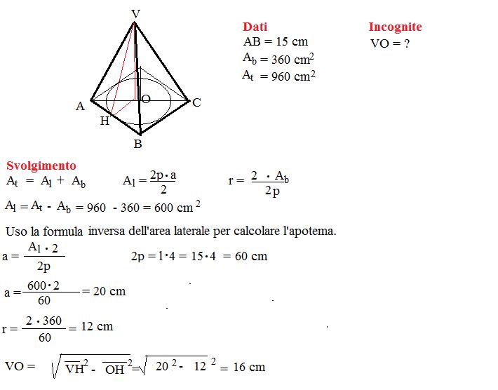 problema superficie piramide retta 3