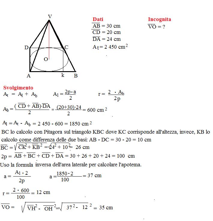 problema superficie piramide retta 4