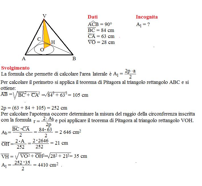 problema superficie piramide retta