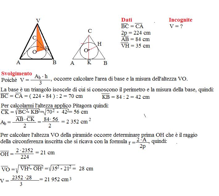 problema sul volume della piramide